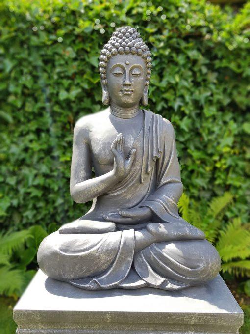 Groot tuinbeeld Boeddha zittend 75cm Antiek Zilver