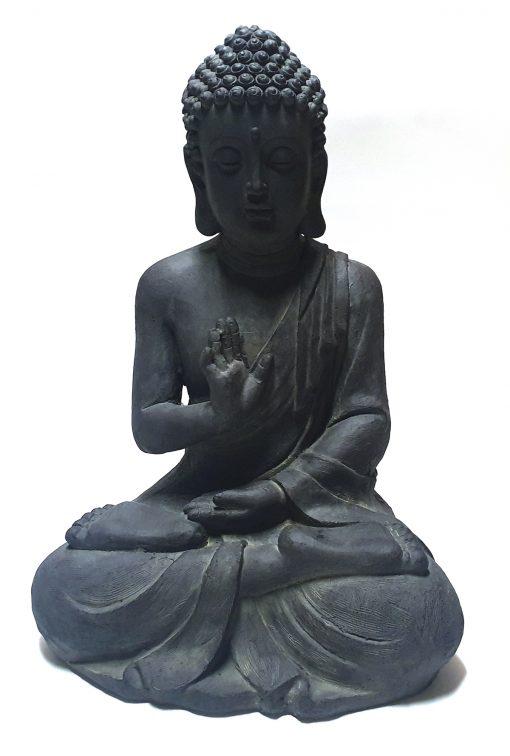 Tuinbeeld Boeddha zittend 60cm Zwart