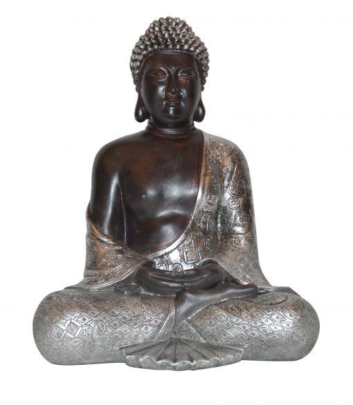 Japans-Boeddha-beeld-30-cm-bruin-zilver