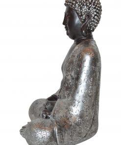 Japans-Boeddha-beeld-30-cm-bruin-zilver-zijkant