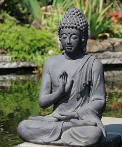 Tuinbeeld-grote-boeddha-zittend-donkergrijs-75cm