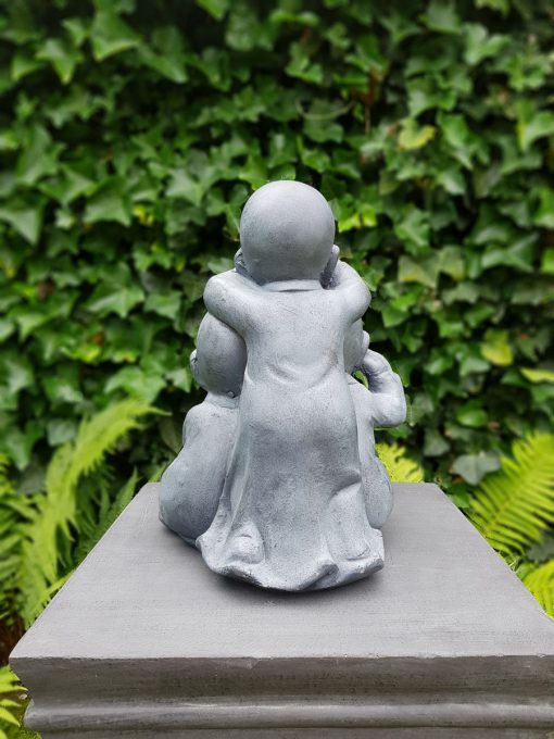 Horen zien zwijgen kindmonniken Shaolin grijs 36 cm hoogte
