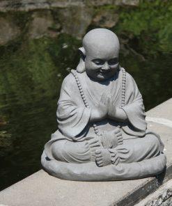 Boeddha mediterend zittend dikbuik grijs 53cm